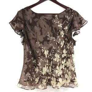 Adrianna Papell Floral Silk Short Sleeve Blouse